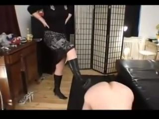 Group of femdom mistressed male slave as toilet