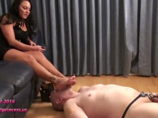 femdom forced bi Bratprincess - Bella - Slave Worships Feet while in Electric Shock Chastity (1080 HD), footjobs on femdom porn