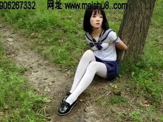 china self bondage shibari blindfold ballgag public outdoor
