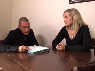 Melany Paris - Cougar boss tests a young man before hiring Anal