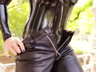 lara larsen leather latex bodysuit