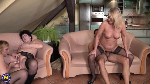 Three mature ladies catches a guy jerking off and make him cum in their mouths and faces
