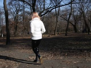 Walking in pants outdoors