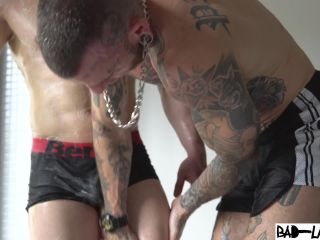 cle twink's wet bubble bum spanked hard in the shower