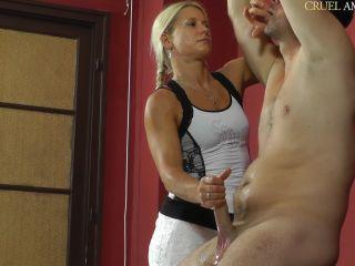Ruined Orgasms – CRUEL MISTRESSES – Handjob in an elegant white dress – Mistress Zita