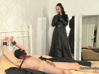 Chateau-Cuir –  Fetish Liza – Bound and drained by My leather coats Part 1