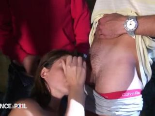 Lafranceapoil_com - Hairy young petite brunette with small tits ganbanged and jizzed by old men