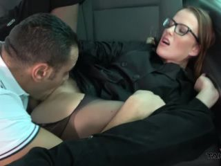 glasses wearing hot chick sprayed with tons of cum in van