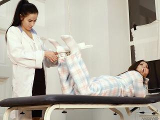 Soles tickling – Russian Fetish – Medical debt – Ticklish powder on nurse and patient's feet