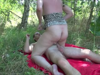 Redhead Mom Fucked by Student Outdoor in Forest