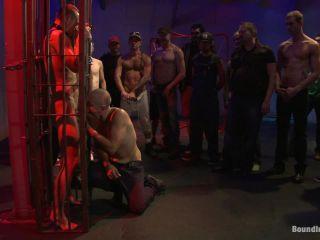 Horny crowd gang bangs a young stud at the playspace of Mr S Leather on femdom porn priya rai femdom