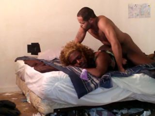 Lazy thug breeds thick booty TV femboy - full ass of hot cum!