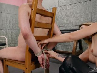 cruel punishments  mistress anette  feeding him the cigarette  facepunching