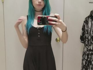 Skinny Gothic Girl Taking a Selfie At Hudson Bay Dressing Room