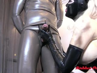 His asshole hard fucked by a strapon of Latex Mistress