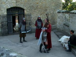 Hot warrior slut orders knights to eat her sy and let her suck them!