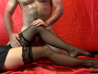 Worshiping Legs LUXURY MISTRESS in Stockings. HUGE CUM Load For Her