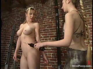 yoga pants femdom Adrianna Nicole, tens unit on lesbian girls