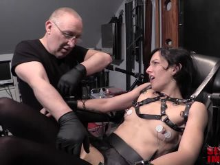 Bound Elise Graves gets electrical clamps Pt.1