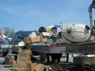 Garage sale street upskirt clip
