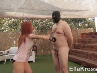 Working Out by Punching My Slave's Chubby Belly! Ella Kross