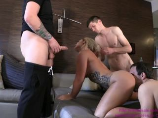 Brat Princess –  Princess Fucks Stud While 2 Chastity Cucks Serving, foot femdom on cuckold porn