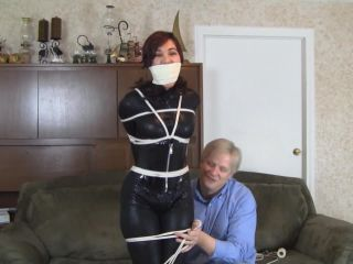 Catsuited Hogtie Seductively Struggling