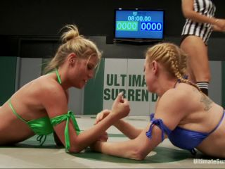 Kink_com - 2 big titted blonds battle in non-scripted wrestling. Submission holds, face sitting, finger fucking