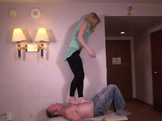 Barefoot trampling by Britney, with great POV like view from below.