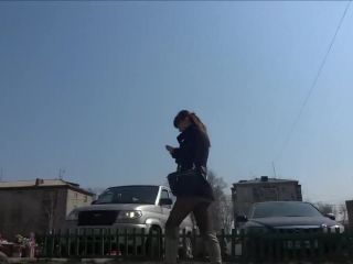 Candidssian in black pantyhose upskirt walking down street!