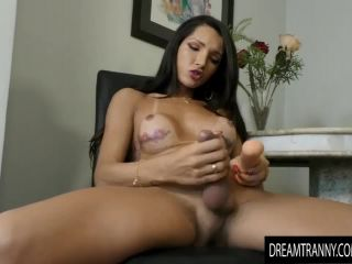 Horny transsexual roberta cortes has her ass red by a dildo machine