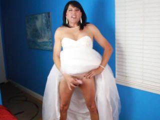 Mature CD Stephanie stroke and cum in her wedding dress