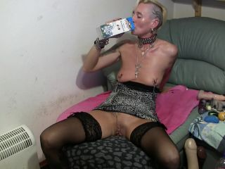 MyDirtyHobby presents lady-isabell666 in Drinking milk dildo deepthroating and puking!!!
