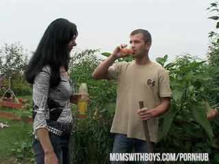 MomsWithBoys Hot Euro Mom giving the gardener a little extra