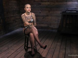 Tattooed Slut Machine Fucked in Tight Bondage!!!