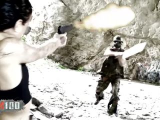 Girl dressed like lara croft gets fucked in the ass in a cave