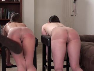 The Unbearable Sting of Topless Pantyhose Strapping- Casey Calvert and Chrissy Marie | prison strapping | fetish porn leyla femdom