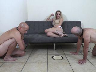 TheMeanGirls: Goddess Platinum - Jerk Off Competition - two slaves - cumshot blonde blowjob big cock