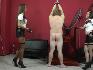 Corporal Punishment – CRUEL MISTRESSES – Naked boy's mocking – Mistress Anette and Amanda