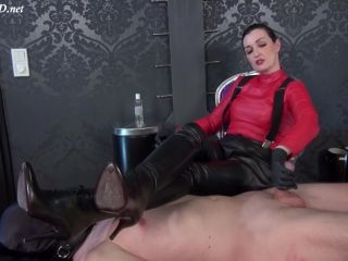 Online Fetish video Ruined orgasm handjob – Under my leather boots! Boots Mistress Lady Victoria Valente