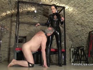 Boots – Fetish Liza – Black latex polisher