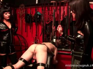 mistress rouge  the rubber clad torture'esses  part three- 500 cane strokes  punishment