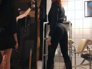 Extreme ballbusting and spanking young slave