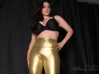 Online femdom video Goddess Alexandra Snow - Gold Shiny Pants Ass Worship