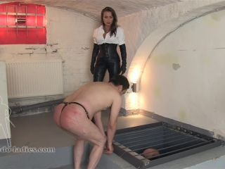 SADO LADIES Femdom Clips – Fat Belly Caning –  Lady Pascal – Leather, Corporal Punishment on fetish porn ferro bdsm seks