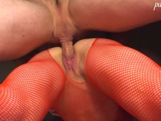 Hot Brunette Deep Sucking and had Sex - in Red Mesh Bodystocking