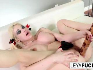 Horny Leya destroys her ass by a giant baseball bat