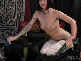 Abigail Dupree solo rides on a huge dildo