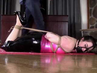 Pink and Black Latex Hogtie