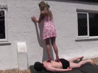 mistress nikki whiplash  merciless outdoor trample  barefoot